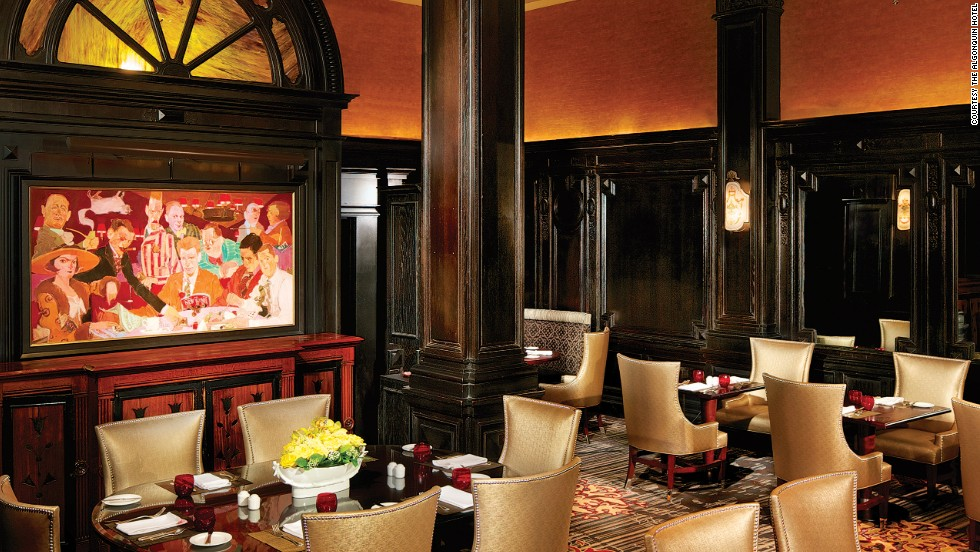 """Site of the famed """"round table"""" luncheons of Dorothy Parker, Alexander Woollcott and other writers of repute, the hotel is filled with old Vanity Fair covers, New Yorker cartoons and quotes from its most illustrious patrons."""