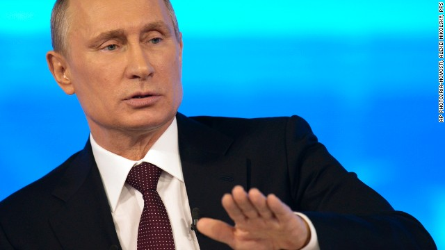 Russian President Vladimir Putin speaks at a nationally televised question-and-answer session in Moscow, Thursday, April 17, 2014.