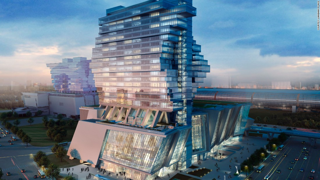 "Opened in Guangzhou in 2013, Langham Place's exterior is designed to resemble unfolding wings in action, ""evoking a sense of freedom and space,"" according to a hotel spokesperson. It also has the city's biggest ballroom."