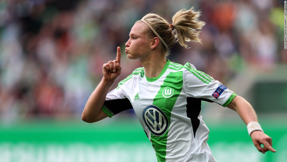 Wolfsburg's Alexandra Popp celebrates a goal against Turbine Potsdam on Sunday, April 27, during a semifinal match of the UEFA Women's Champions League. Wolfsburg, from Wolfsburg, Germany, won 4-2 to advance to the final against Swedish club Tyreso.