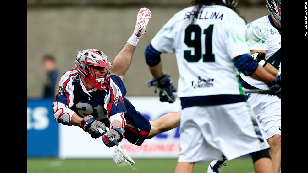 Will Mangan of the Boston Cannons takes a shot against the Chesapeake Bayhawks during their Major League Lacrosse game Sunday, April 27, in Boston. The Cannons won the game 15-9 to open their season.