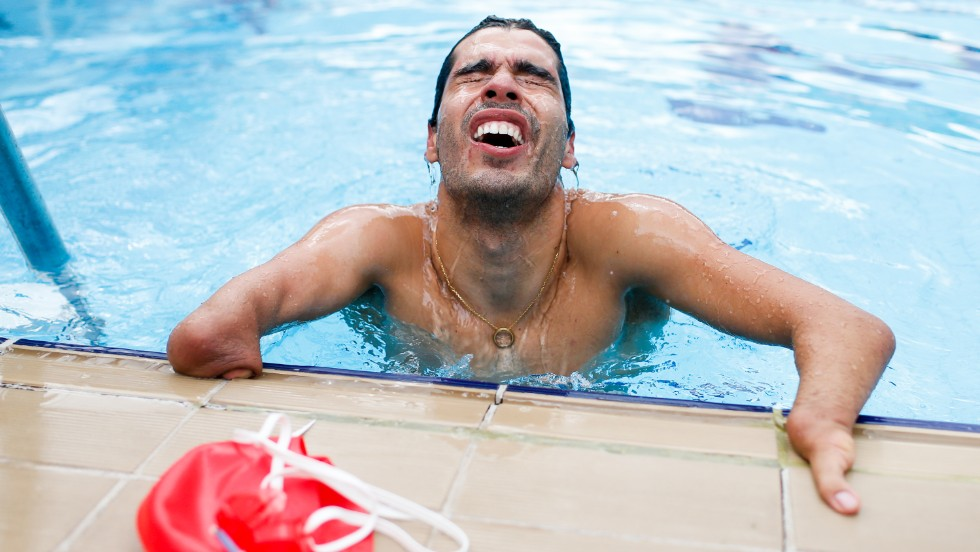 Daniel Dias emerges from the water after competing in the 50-meter butterfly during a Paralympic swimming competition Saturday, April 26, in Sao Paulo, Brazil.