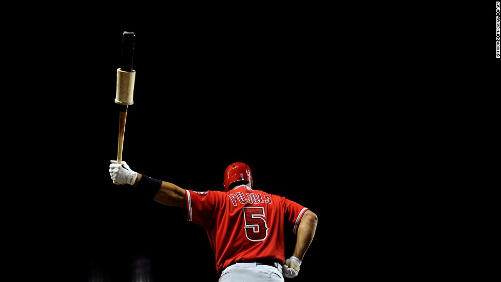 Albert Pujols of the Los Angeles Angels of Anaheim stands on deck Tuesday, April 22, in a game against the Washington Nationals. Pujols hit his 500th career home run earlier in the game, which the Angels won 7-2.