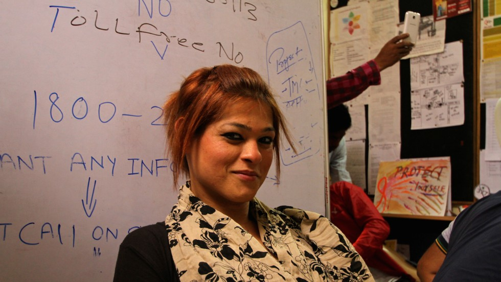 Kyra Sharma, 27, a male-to-female transgender in Delhi, dreams of becoming a makeup artist. (Photo credit: Omar Khan)