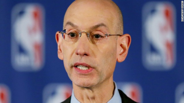 Caption:NEW YORK, NY - APRIL 29: NBA Commissioner Adam Silver holds a press conference to discuss Los Angeles Clippers owner Donald Sterling at the Hilton Hotel on April 29, 2014 in New York City. Silver announced that Sterling will be banned from the NBA for life and will be fined $2.5 million for racist comments released in audio recordings. (Photo by Elsa/Getty Images)