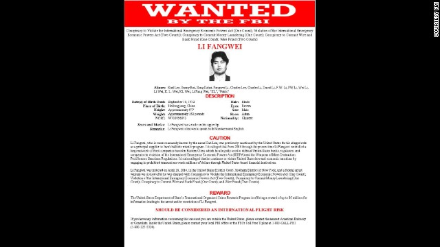 Li Fangwei wanted by the FBI.