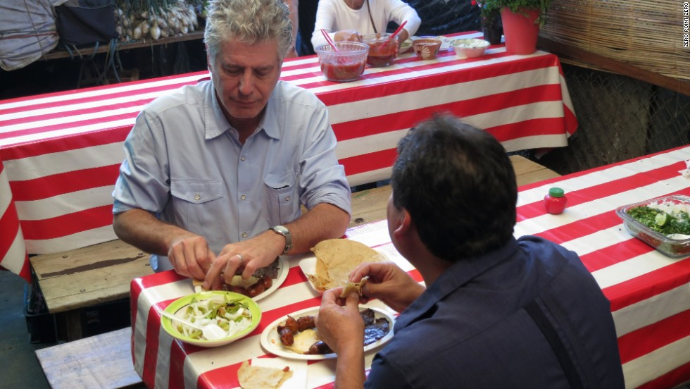 Bourdain is accompanied by chef Alejandro Ruiz Olmedo on his eating tour of Oaxaca's central market.