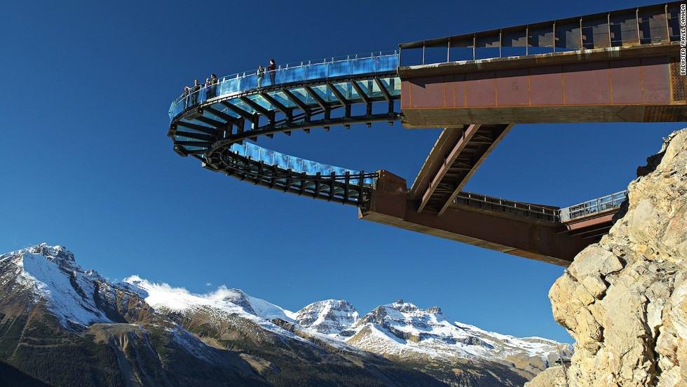 "<a href=""http://edition.cnn.com/2014/05/02/travel/glacier-skywalk-canada/"">Canada's Glacier Skywalk in Jasper,</a> which opened in 2014, is a fantastic place to catch views of the surrounding mountains. <br />Jutting 35 meters out the side of a cliff on Jasper National Park's Icefields Parkway, the glass-floored observation walkway hangs 280 meters above Sunwapta Canyon. <br /><a href=""http://www.brewster.ca/rocky-mountains/destinations/columbia-icefield/activities/glacier-skywalk/"" target=""_blank""><em>More info: Brewster.ca</a></em><br /><a href=""http://www.cnn.com/2014/05/02/travel/glacier-skywalk-canada/index.html"">MORE: Amazing views, sweaty palms on Canada's new Glacier Skywalk</a>"