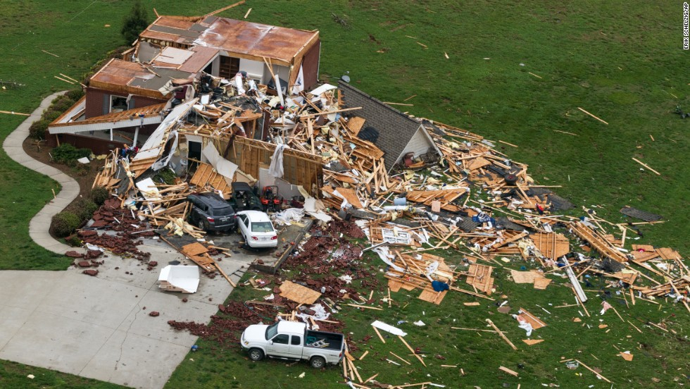 A tornado-damaged home near Fayetteville, Tennessee, is seen on April 30.