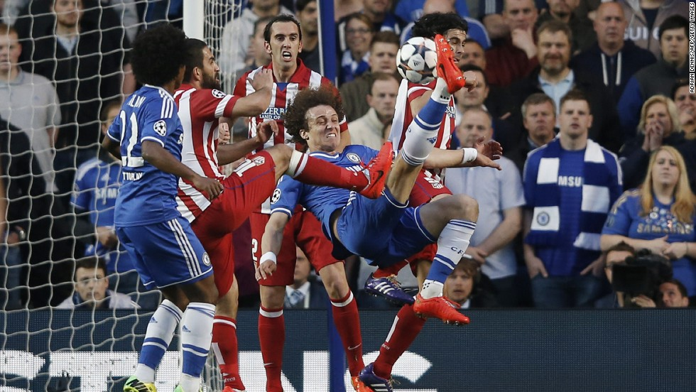 David Luiz went close to opening the scoring for Chelsea when his acrobatic overhead kick sailed just past the post.