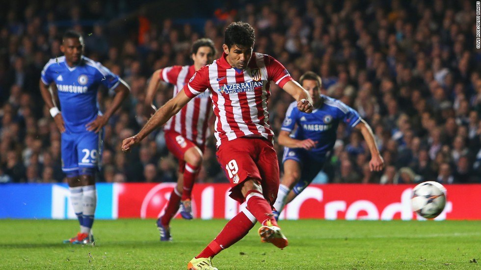 Diego Costa gave Atletico the lead from the penalty spot on 60 minutes after he was fouled by Samuel Eto'o.