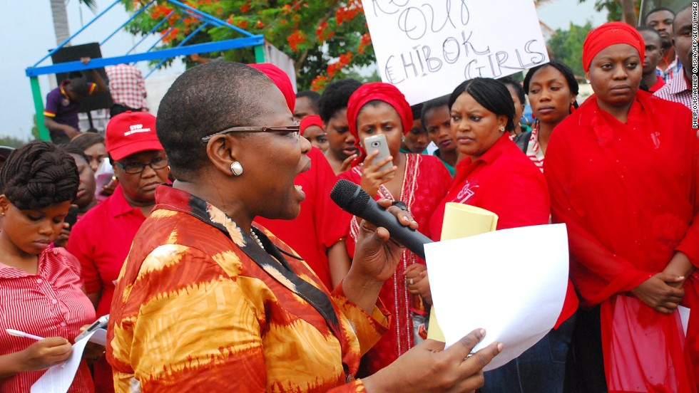 Obiageli Ezekwesili, former Nigerian education minister and vice president of the World Bank's Africa division, leads a march of women in Abuja on April 30.