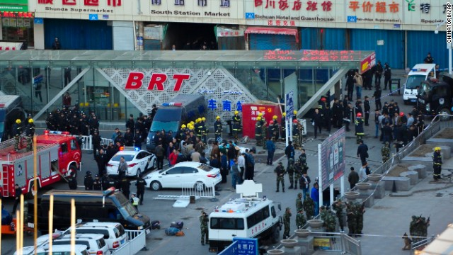 The blast occurred around 7 p.m. Wednesday at the exit of the south railway station of Urumqi.