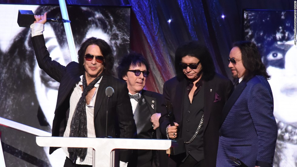 In 2014, 40 years after KISS' first album, the members of the band were inducted into the Rock and Roll Hall of Fame. From left, inductees Paul Stanley, Peter Criss, Gene Simmons and Ace Frehley celebrate at the induction ceremony in April.