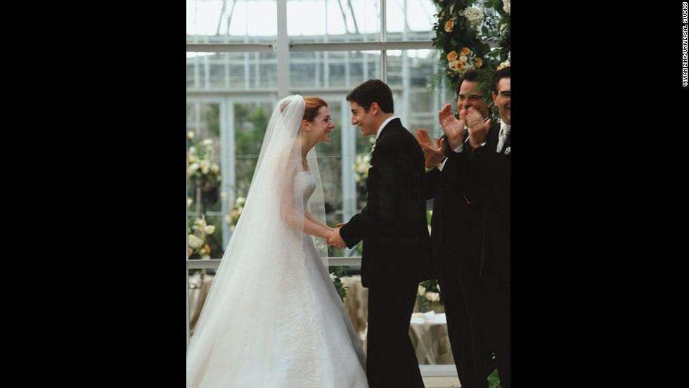 "<strong>""American Wedding"":</strong> The ""American Pie"" gang has grown older and graduated to wedding cake in this 2003 sequel, but that doesn't mean they've grown up. At the nuptials of Michelle and Jim (Alyson Hannigan and Jason Biggs), messy antics ensue. (And yes, Stifler's mom makes quite a splash.)"
