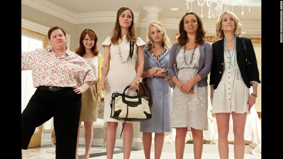 "<strong>""Bridesmaids"":</strong> In this 2011 comedy, maid of honor Annie (Kristin Wiig, far right) hits a rough patch right before the wedding of best friend Lillian (Maya Rudolph, second from right) and accidentally sabotages everything from the dress fitting to the bachelorette party. Her increasingly erratic behavior strains her friendship with the overwhelmed bride until she's fired from the wedding -- and her friendship."