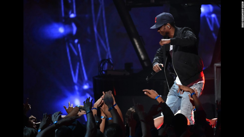 Rapper Kendrick Lamar performs onstage during the 2014 iHeartRadio Music Awards held at The Shrine Auditorium on Thursday, May 1, 2014, in Los Angeles.