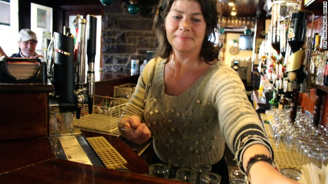 "Since Ireland banned indoor smoking, pubs are ""much cleaner,"" says bartender Trish Morierty."