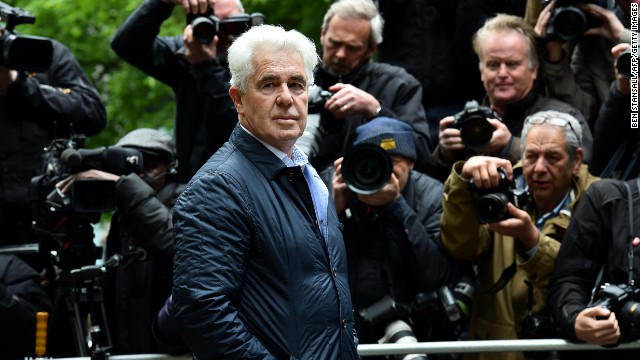 British publicist Max Clifford arrives at Southwark Crown Court in London on May 2, 2014.