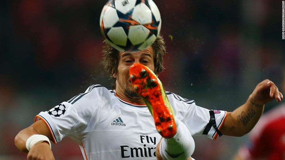 Real Madrid's Fabio Coentrao controls the ball Tuesday, April 29, during a UEFA Champions League match against Bayern Munich. Madrid won the semifinal match 4-0 and will play Spanish rivals Atletico Madrid in the final on May 24.