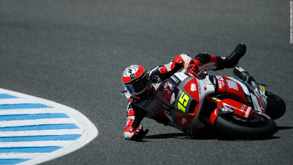 Moto2 rider Alex de Angelis falls Friday, May 2, at a practice session of the Spanish Grand Prix in Jerez de la Frontera, Spain. Mika Kallio won the race two days later.