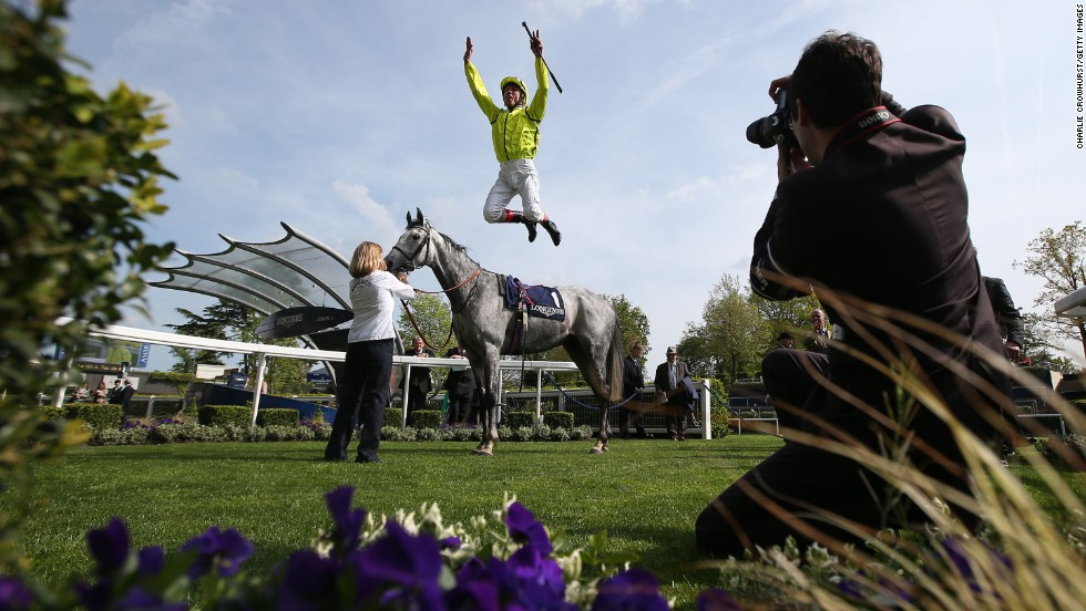 Frankie Dettori celebrates after riding Tac De Boistron to victory in the Sagaro Stakes, which was held Wednesday, April 30, in Ascot, England.