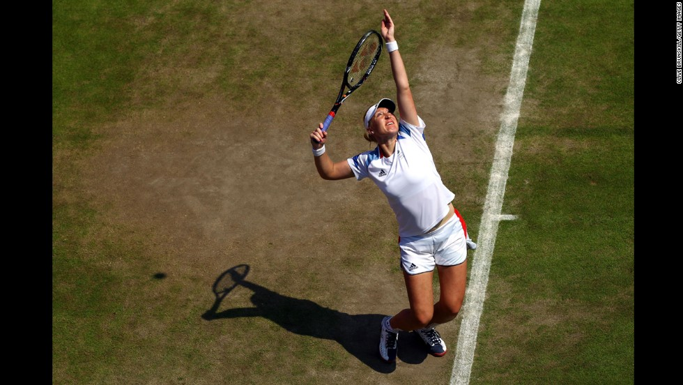 Baltacha practices at Wimbledon ahead of the London Olympic Games in July 2012.