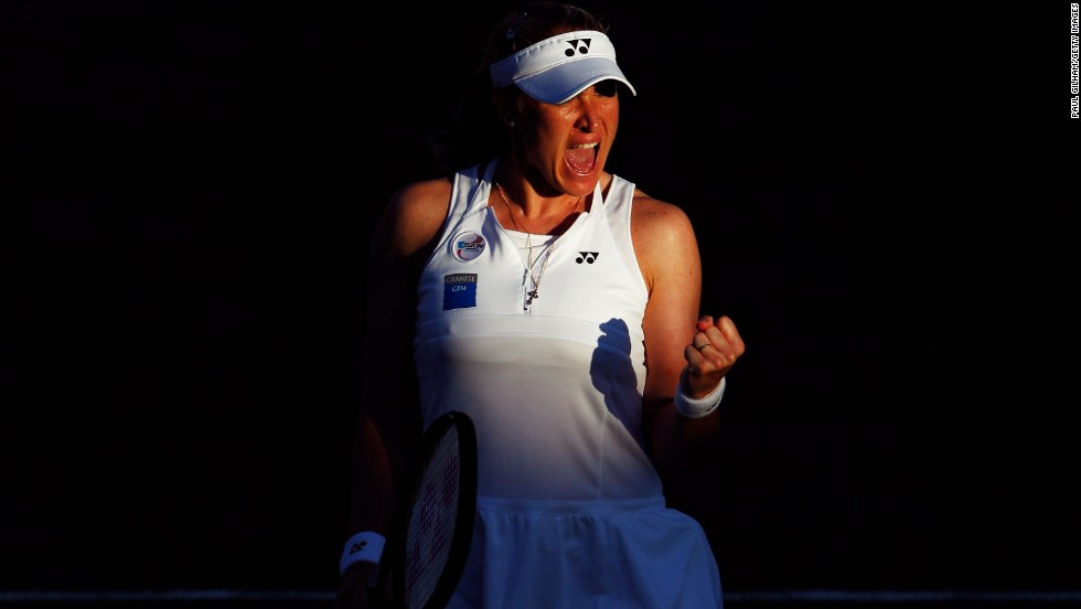 Baltacha reacts during a match against Petra Kvitova in the second round of Wimbledon in June 2012.