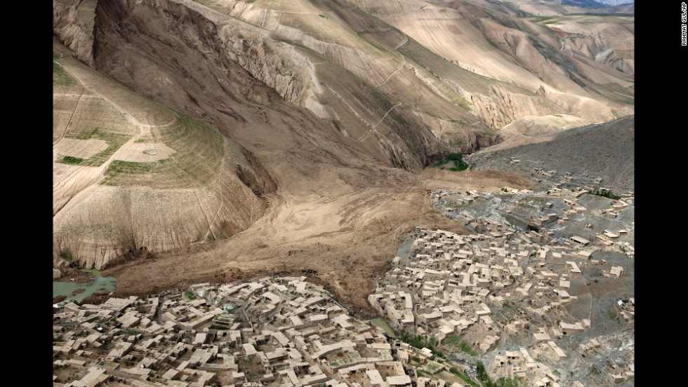 An aerial view on May 5 shows the destruction of the landslide that buried the village of Abi Barak.