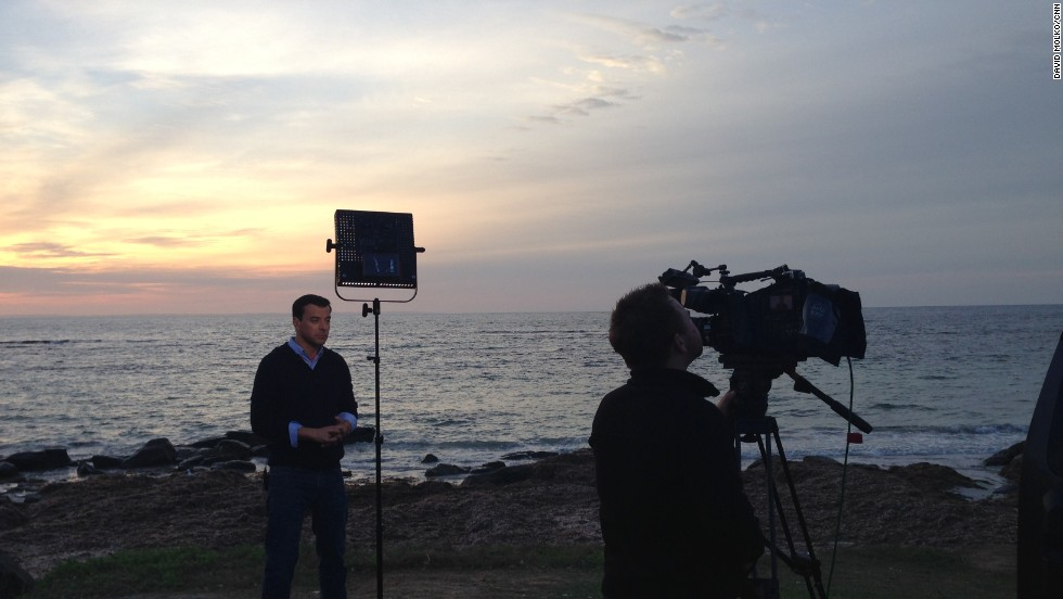 Day 48 -- CNN's Miguel Marquez reports from the shoreline near Augusta, with cameraman Paul Devitt.  A piece of debris found nearby was later confirmed to have no connection to MH370.