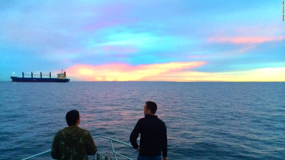 "Day 28 -- Senior Producer David Molko and Engineer Danny Symmonds on the ""Thunder"" off Perth.  The underwater search area is 1,000 miles offshore."