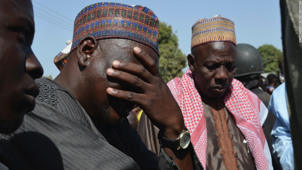 A man weeps as he joins parents of the kidnapped girls during a meeting with the Borno state governor in Chibok on Tuesday, April 22.