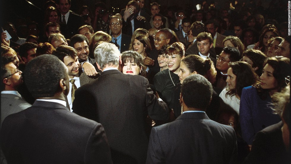 "Monica Lewinsky embraces U.S. President Bill Clinton at a Democratic fundraiser in Washington in October 1996. Lewinsky, the White House intern who had a sexual relationship with Clinton during his time in office, has finally <a href=""http://www.cnn.com/2014/05/06/politics/lewinsky-clinton-affair/index.html"">broken her silence</a> on the affair in a Vanity Fair article."