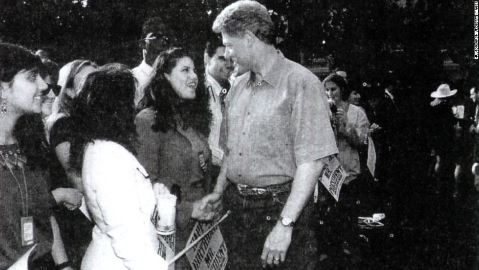Another image submitted as evidence in September 1998 shows Lewinsky meeting President Clinton at a White House function.