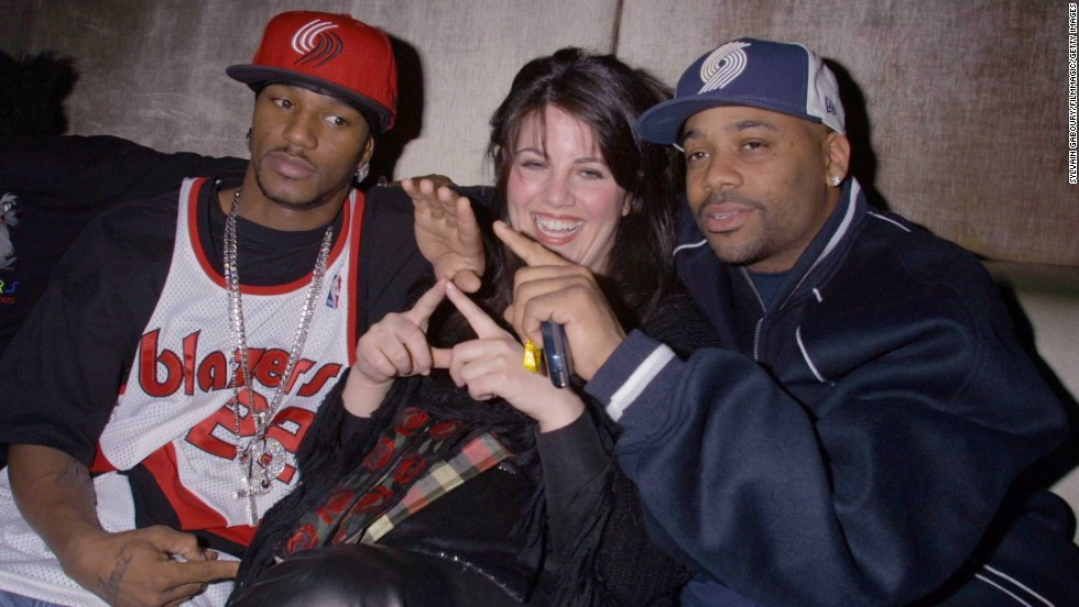 Lewinsky poses for a photo with rapper Cam'ron, left, and businessman Damon Dash in 2002.