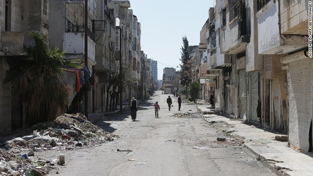 The neighborhood of Baba Amro in the central Syrian city of Homs on March 15, 2014.
