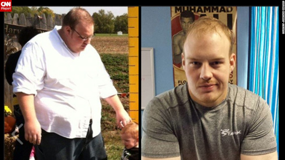 This before and after photo shows how Walters looked near the start of his diet and how he looks today.