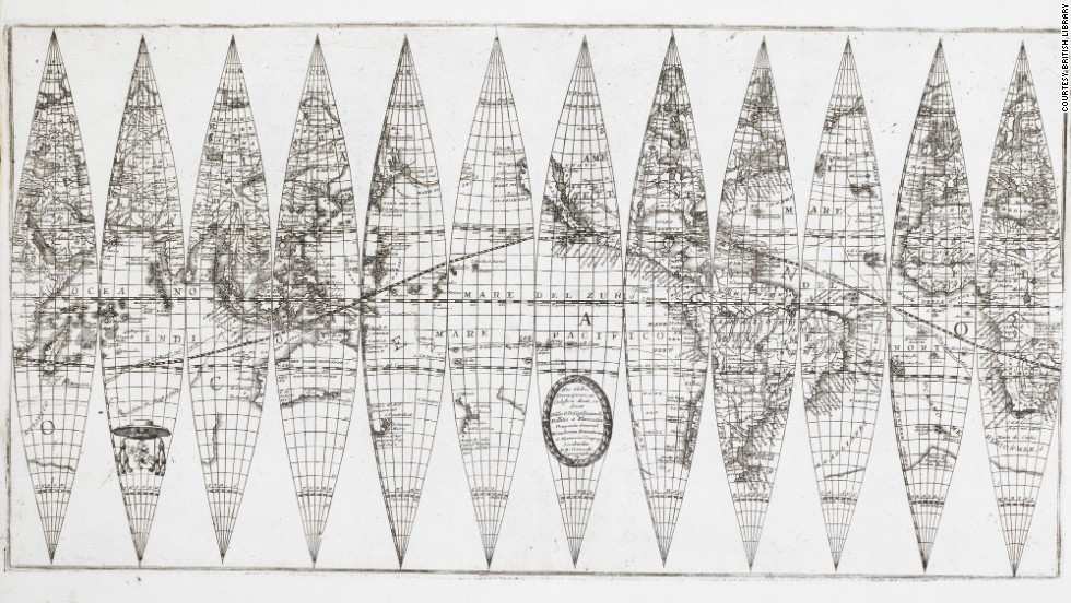 These gores, the printed sheets that cover a globe, date to around 1700.