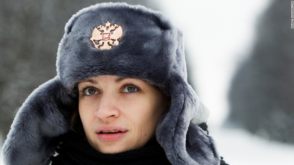 Moscow resident Darya Tarasova wears one of the hats sold to tourists in St. Petersburg. She works as a fixer and guide in Russia.