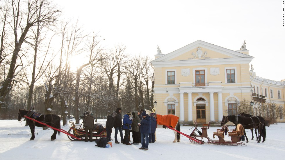Trokias, or horse-draw sleighs, wait outside the Pavlovsk Palace, an 18th-century Russian Imperial residence.