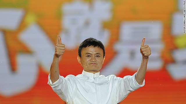 File: Alibaba founder Jack Ma gives a thumbs up after speaking at an event to mark the 10th anniversary of China's most popular online shopping destination Taobao Marketplace in Hangzhou on May 10, 2013. As Ma steps aside after building the world's largest online retailer, the Chinese firm is preparing a huge stock offer prompting comparisons with Facebook -- whose profits it dwarfs. AFP PHOTO/Peter PARKS (Photo credit should read PETER PARKS/AFP/Getty Images)