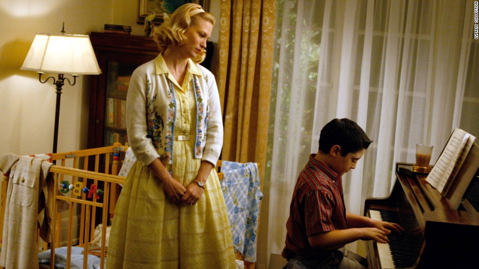 "Betty Draper -- later Betty Francis (January Jones, here with Marten Holden Weiner) -- tries to be a polished, grown-up mother on ""Mad Men,"" but the years have shown that her glamorous sheen hides a brittle interior."