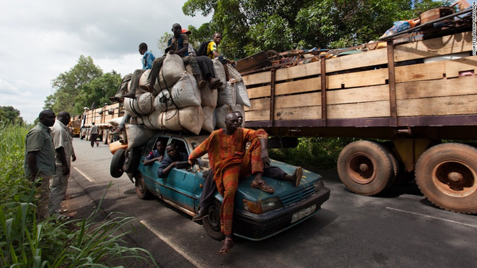 About 1,300 Muslims from Bangui, Central African Republic, begin their journey on April 27, heading out of the volatile capital toward the border with Chad. On the second day of their trip, the convoy was ambushed by a Christian militia group, leaving two dead and more injured.