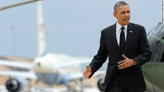 President Barack Obama walks toward Air Force One at Andrews Air Force Base in Md., Wednesday, May 7, 2014.