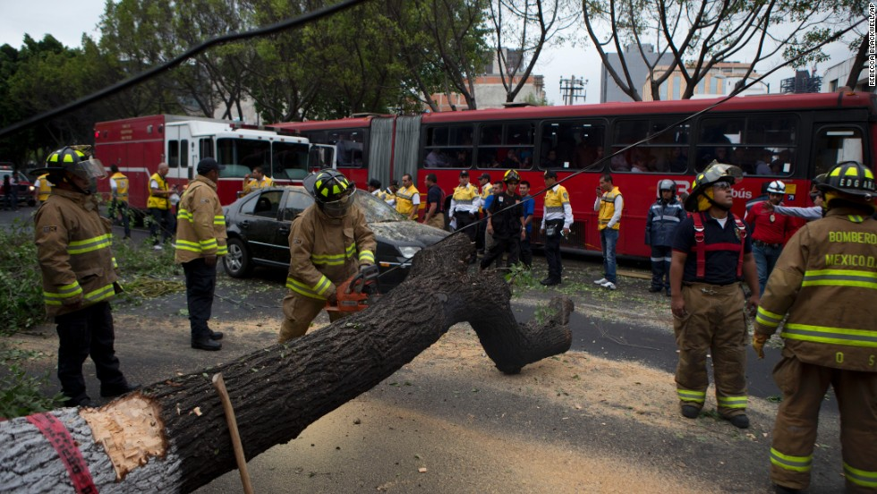 Firefighters cut apart a fallen tree that took down power lines and landed on a car in Mexico City.