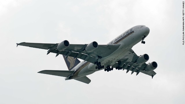 [File photo] A Singapore Airlines Airbus A380, not Flight SQ 866, approaches Singapore International Airport on January 7, 2014.