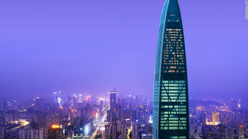 "<strong>St. Regis Shenzhen, Shenzhen</strong><br /><strong>Architect:</strong> Sir Terry Farrell<strong><br />Status:</strong> Opened in 2012 <strong><br />Rooms:</strong> 300<br /><strong>Fast fact:</strong> St. Regis Shenzhen is located on the top 28 floors of the Kingkey 100 -- the tallest building in Shenzhen. The hotel's 28-meter indoor pool, with floor-to-ceiling windows, offers fantastic views of the sprawling city below. <a href=""http://www.starwoodhotels.com/stregis/property/overview/index.html?propertyID=3651"" target=""_blank""><em><br />St. Regis Shenzhen<em></em></a>, No. 5016 Shennan Road East, Luohu District. Shenzhen, Guangdong +86 755 8308 8888</em>"