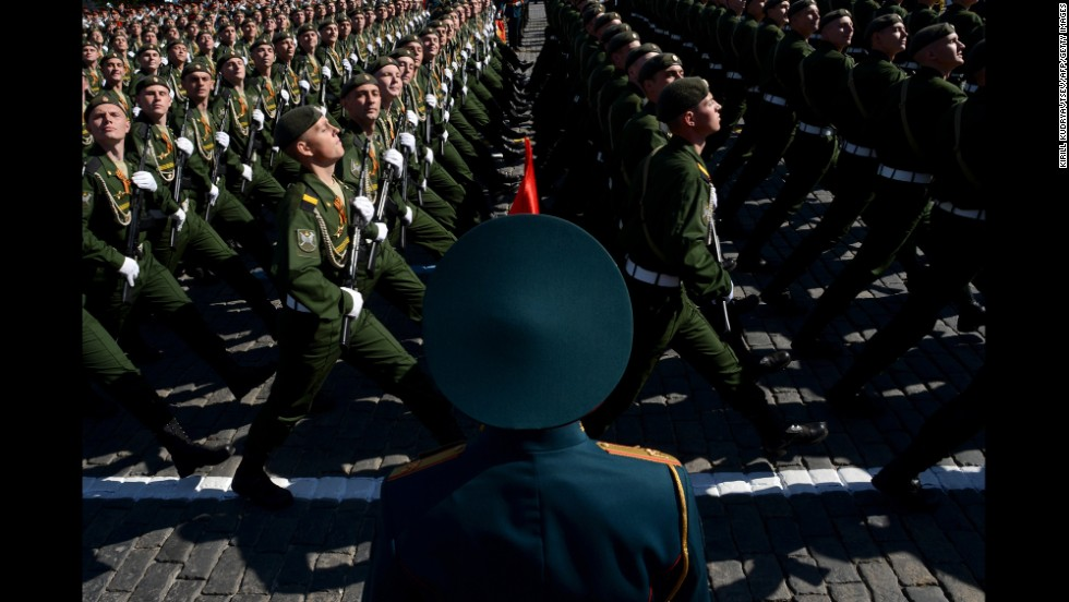 Russian soldiers march on Red Square in Moscow during a Victory Day parade.
