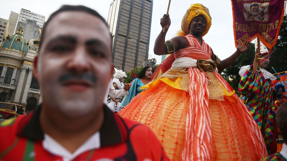 A street carnival in Lapa. The neighborhood is seen as the headquarters for nightlife and music -- especially samba.