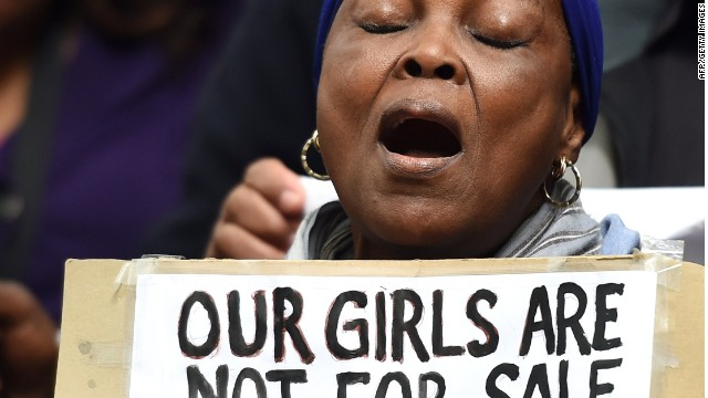 Protestors in central London on May 9, 2014, demand the return of more than 200 Nigerian schoolgirls abducted by the Boko Haram Islamist group.